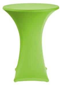 Feestmateriaal receptietafel met groene stretchhoes