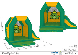 3D afbeelding van het Kikker Springkasteel met de afmetingen